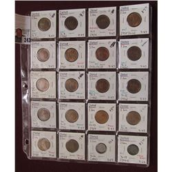 20-Pocket Plastic Page with (20) 1934-44 Japanese One Sen Coins.