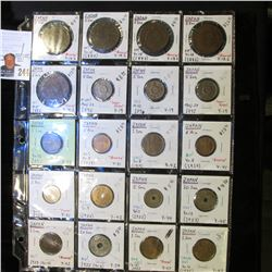 20-Pocket Plastic Page with (20) Japanese Coins, includes One Sen, 2 Sen, 5 Sen, 5 Rin, & 10 Sen coi