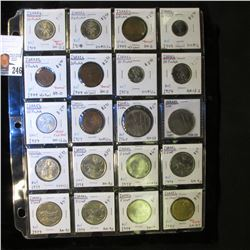 20-Pocket Plastic Page with (20) Israel Coins, including 10, 25, & 50 Prutah, 25, 50 Prutot, 1 Lira,