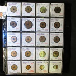 20-Pocket Plastic Page with (17) East Africa & (3) Ethiopia Coins. All BU. Dating 1909-1959.
