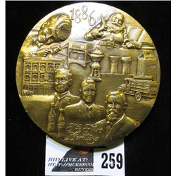"1886-1986 Coca-Cola Large Bronze Medal, 3"" x 1/4"", depicts 100 Centennial Celebration bottle, rocket"