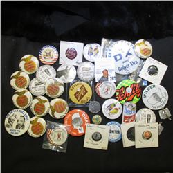 "Large Group of Pin-backs including ""Schlitz"" Beer."