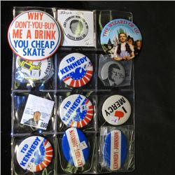 Plastic Page full of mostly Kennedy related Pin-backs.