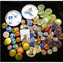 Large Group of Old Pin-backs, most of which are Campaign pins.