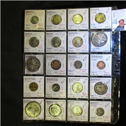 20-Pocket Plastic Page full of Coins Barbados Coins. All are Proof issues dating 1973-74. Cent to Tw