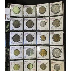 20-Pocket Plastic Page full of Coins from France, several BU. Over $85 in catalog value.