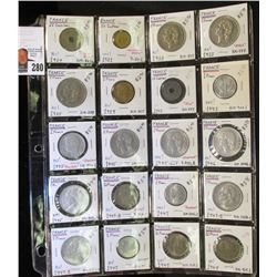 20-Pocket Plastic Page full of Coins from France, several BU. Over $70 in catalog value.