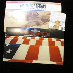 "Marshall Islands ""Battle of Britain & Pearl Harber $5 Commemorative Coins in original holders. ($10"