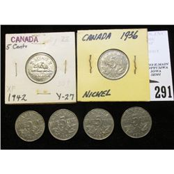 1929, 30, 32, 34, 36, & 42 Canada Nickels, grading up to EF.