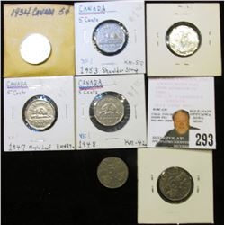 1929, 34, 36, 45, 47 ML, 48, & 53 SS Canada Nickels, grading up to BU.