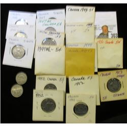 (5) 1940, (5) 47 ML, (5) 49, 50, (5) 52, & 53 SS Canada Nickels, grading up to BU.