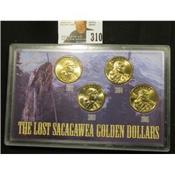 "Special Cased Set ""The Lost Sacagawea Golden Dollars"" contains 2002 P, 2003 P, 2004 P, & 2005 D Gem"