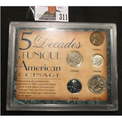 "Special Cased Set ""5 Decades of Unique American Coinage"" contains 1957 D Cent, 1943 Steel Cent, 1930"