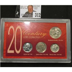 "Special Cased Set ""20th Century Coin Collection"" contains 1943 D Steel Cent, 1935 P Buffalo Nickel,"