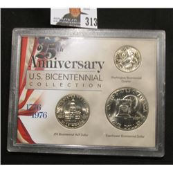 1776-1976 25th Anniversary U.S. Bicentennial Collection, three-piece Dollar thru Quarter, BU.