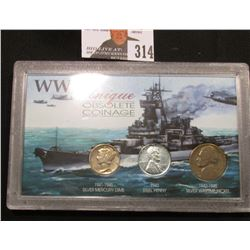 "Special Cased Set ""WW II Unique Obsolete Coinage"" contains 1943 P Steel Cent, 1943 P Silver World Wa"