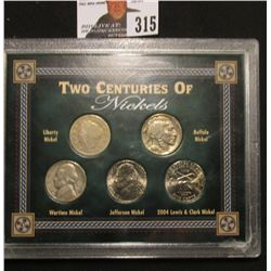 "Special Cased Set ""Two Centuries of Nickels"" contains, Liberty Buffalo, Silver Wartime, Jefferson, &"