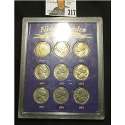 "Special Cased Set ""Nine Decades of American Nickels 1910-1990""."