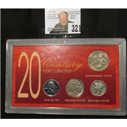 "Special Cased Set ""20th Century Coin Collection"" contains 1943 P Steel Cent, 1937 P Buffalo Nickel,"