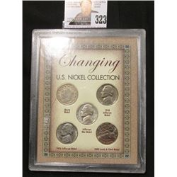 "Special Cased Set ""Changing U.S. Nickel Collection"" contains 1938 P Jefferson Nickel, 1910 Liberty N"