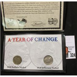 "Special Cased Set ""A Year of Change: 1938 Buffalo Nickel 1938 Jefferson Nickel."