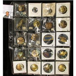 (20) Old U.S. Military Awards, buttons & Pins in a 20-pocket plastic page.