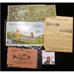 "(2) Pieces of ""Pony Express Money One Thousand"", copyright 1947; ""Picacho Capt. -Alaska Blue Canoe Q"