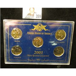 2001 Gold-plated U.S. State Quarter Five-piece Set in a special presentation case.