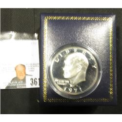 1971 S Proof Eisenhower Dollar in a special presentation case.