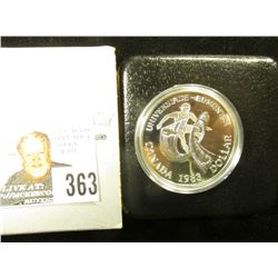 1983 Canada Olympics Proof .500 fine Silver Dollar in original case of issue.