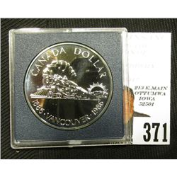 "1886-1986 Canada Specimen Proof-like Silver Dollar ""Train"" in grey box as issued. KM149. .500 fine S"