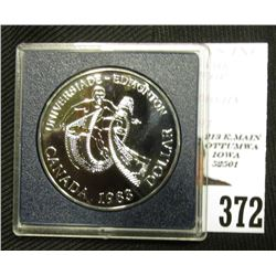 "1983 Canada Specimen Proof-like Silver Dollar ""Olympics"" in grey box as issued. KM138. .500 fine Sil"