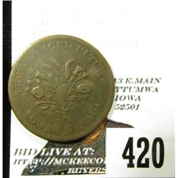 (Early 1800) Lower Canada Bank of Montreal Un Sou Token. Agriculture & Commerce. Fine.