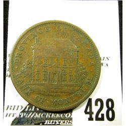 "1842 ""Province of Canada/Bank of Montreal"", Bank Token One Penny ""Concordia Salus"", F-VF."