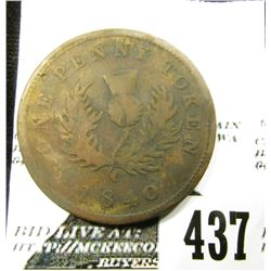 "1840 One Penny Token (Depicts the Canadian Thistle), ""Province of Nova Scotia"", EF."