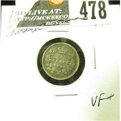 1899  Canada Five Cent Silver, VF+.