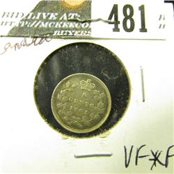 1901 Canada Five Cent Silver, VF-EF.
