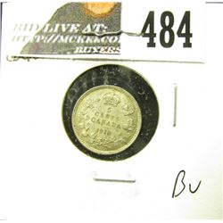 1913 Canada Five Cent Silver, Brillinat Uncirculated.
