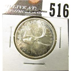 1959 Canada Silver Quarter, Brilliant Uncirculated.