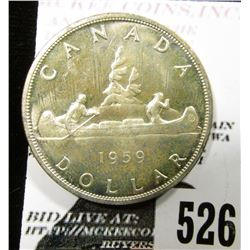 1959 Canada Silver Dollar, Brilliant Uncirculated.