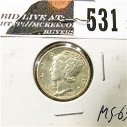 1938 S Mercury Dime, Brilliant Original toned Uncirculated with near full split bands.