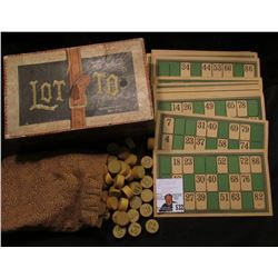 "Antique Game ""Lotto McLoughlin Bros. New York"", includes original box, wooden numbered game pieces,"