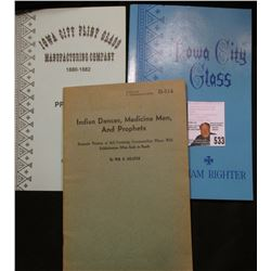 "Trio of Booklets: Paper Back Compiled by 'Doc' Dr. J.W. Carberry ""Iowa City Flint Glass Manufacturin"