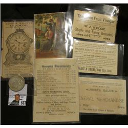 Group of 6 Iowa City, Iowa Advertising Cards dating back to 1880 & 1924 S U.S. Peace Silver Dollar,