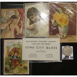 Group of 5 Iowa City, Iowa Advertising Cards dating back to 1880 & 1922 D U.S. Peace Silver Dollar,