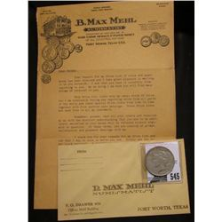 1922 D U.S. Peace Silver Dollar, VF; & a letter from B. Max Mehl, 1930 era.