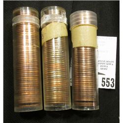1971 D, 72 D, & 82 D Solid Date Rolls of BU Lincoln Cents in plastic tubes.