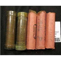 (5) Rolls of U.S. Wheat Cents, including 1939 P, 46 P, 53 S, & etc.