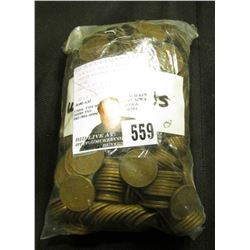 (500) Mixed date U.S. Wheat Cents in a bag.