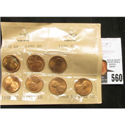 1982 Seven-Piece Variety Set of Gem BU Lincoln Cents.